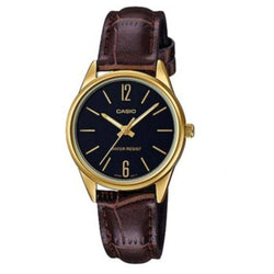 Casio LTP-V005GL-1B Brown Leather Strap Watch for Women