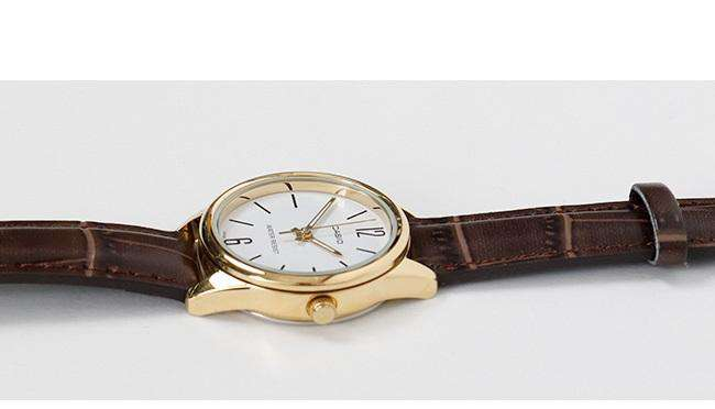 Casio LTP-V005GL-7B Brown Leather Strap Watch for Women