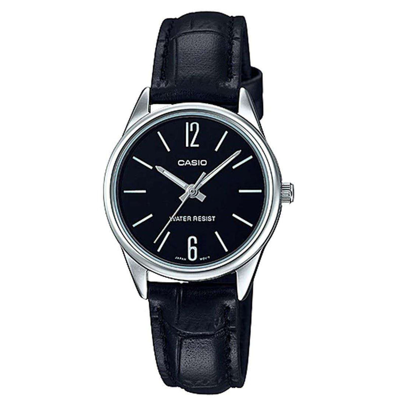 Casio LTP-V005L-1B Black Leather Strap Watch for Women