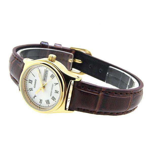 Casio LTP-V006GL-7B Brown Leather Strap Watch for Women