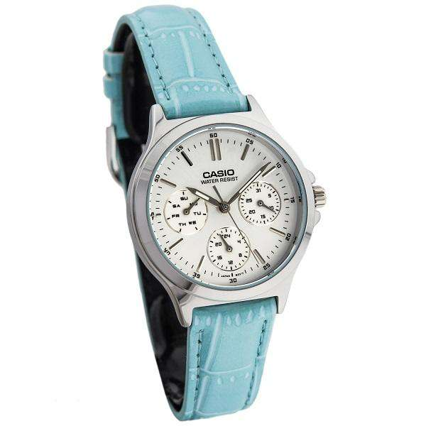 Casio LTP-V300L-2A Light Blue Leather Strap Watch for and Women