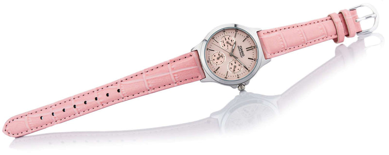 Casio LTP-V300L-4A Pink Leather Strap Watch for and Women
