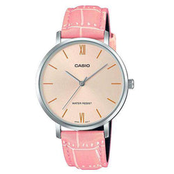 Casio LTP-VT01L-4B Pink Leather Strap Watch for Women