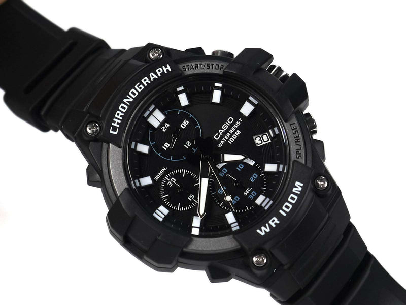 Casio MCW-110H-1AVDF Analog Chronograph Black Resin Strap Watch for Men