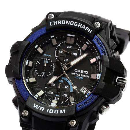 Casio MCW-110H-2AVDF Analog Chronograph Black Resin Strap Watch for Men