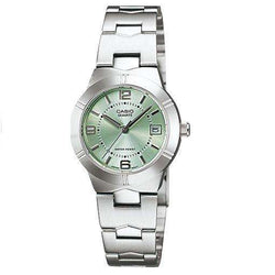 Casio LTP-1241D-3ADF Silver/Green Stainless Steel Strap Watch for Women