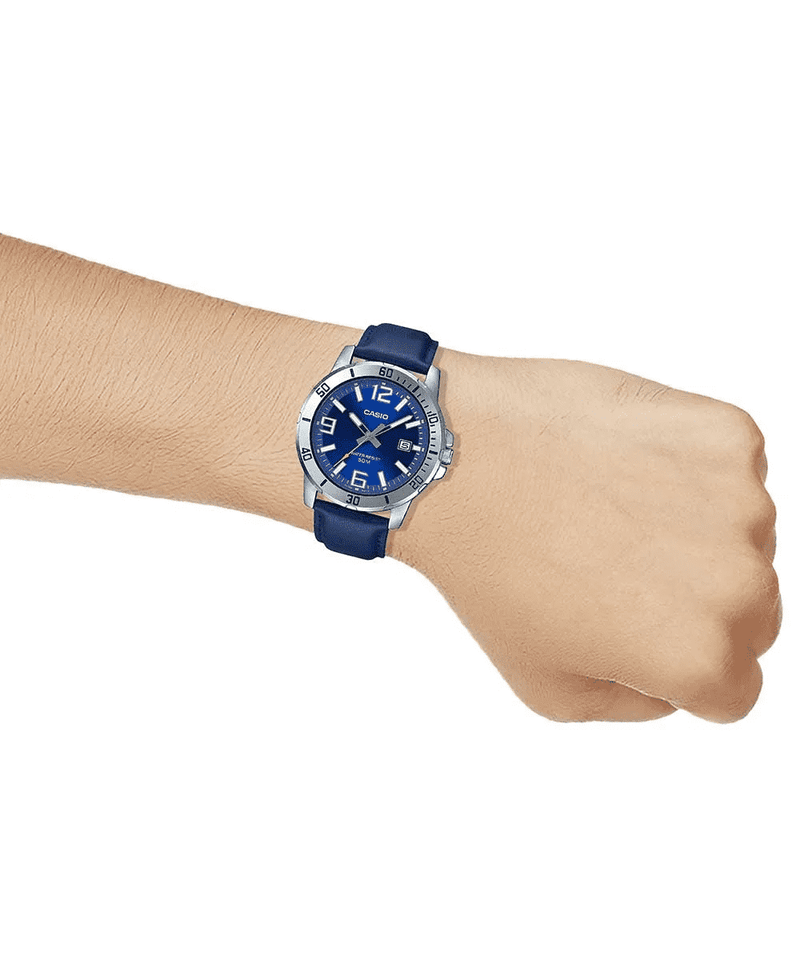 Casio MTP-VD01L-2BVUDF Blue Leather Watch for Men