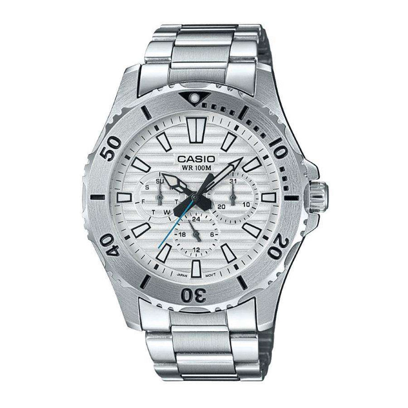 Casio MTD-1086D-7A Silver Stainless Steel Strap Watch for Men