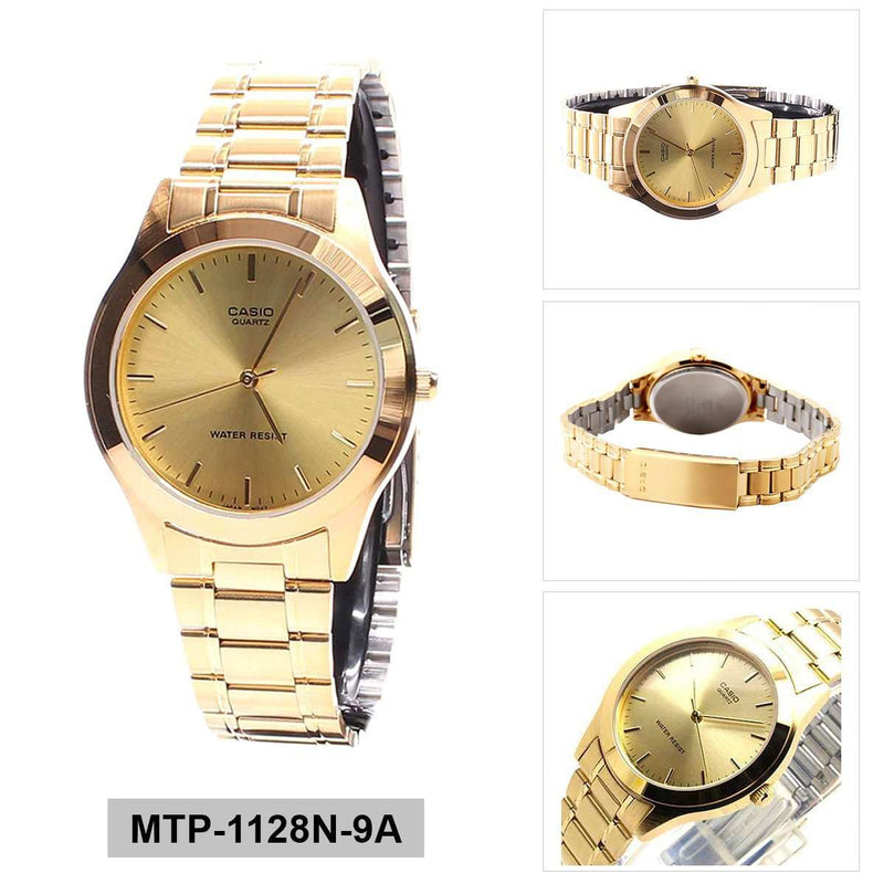 Casio MTP-1128N-9A Gold Stainless Steel Watch for Men and Women