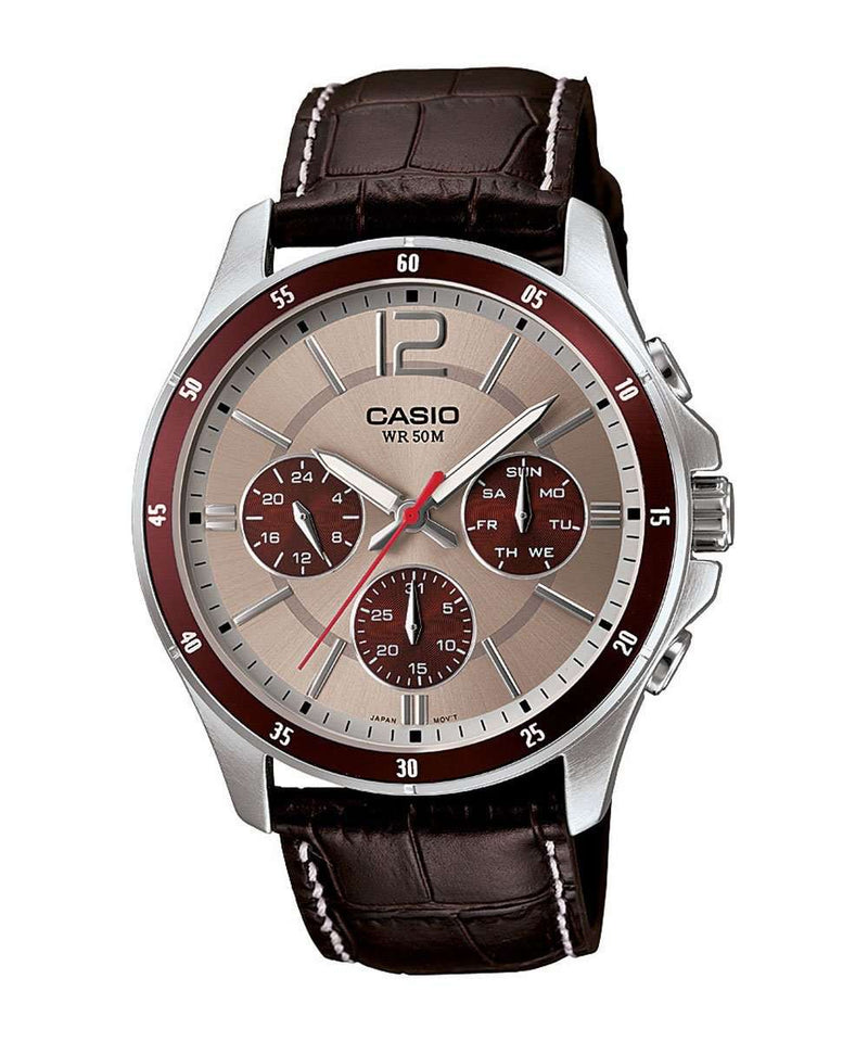 Casio MTP-1374L-7A1VDF Brown Leather Strap Watch for Men