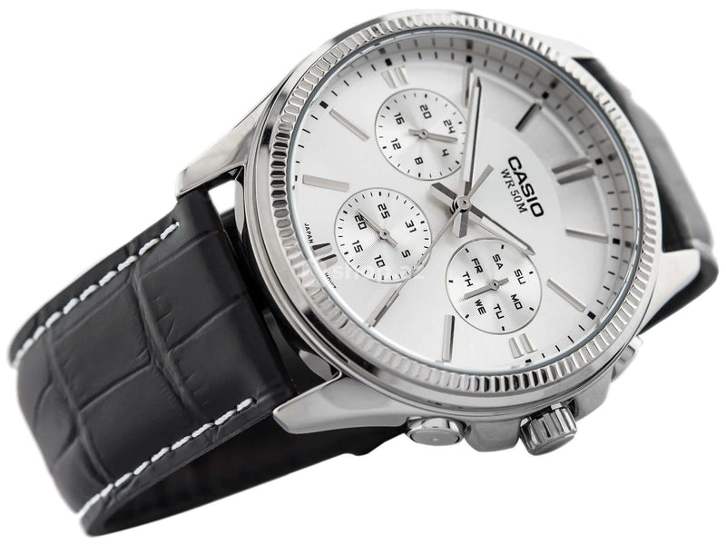 Casio MTP-1375L-7A Black Leather Strap Watch for Men