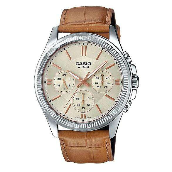 Casio Mtp 1375l 9a Light Brown Leather Strap Watch For Men