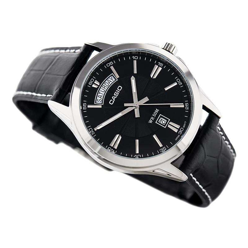 Casio MTP-1381L-1AVDF Black Leather Watch for Men