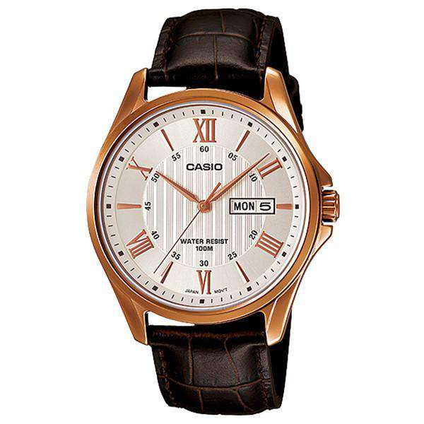 Casio Standard Men's Brown Leather Strap Watch MTP-1384L-7A - Watchportal Philippines