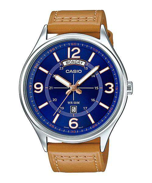 Casio MTP-E129L-2B2VDF Brown Leather Strap Watch for Men