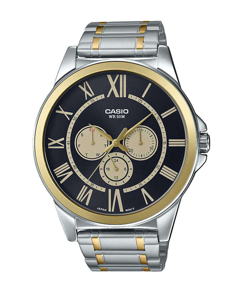 Casio MTP-E318SG-1BVDF Two Tone Silver Watch for Men