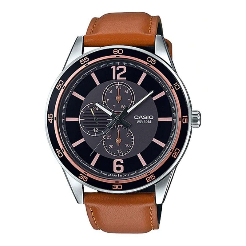 Casio MTP-E319L-1BVDF Brown Leather Strap Watch for Men