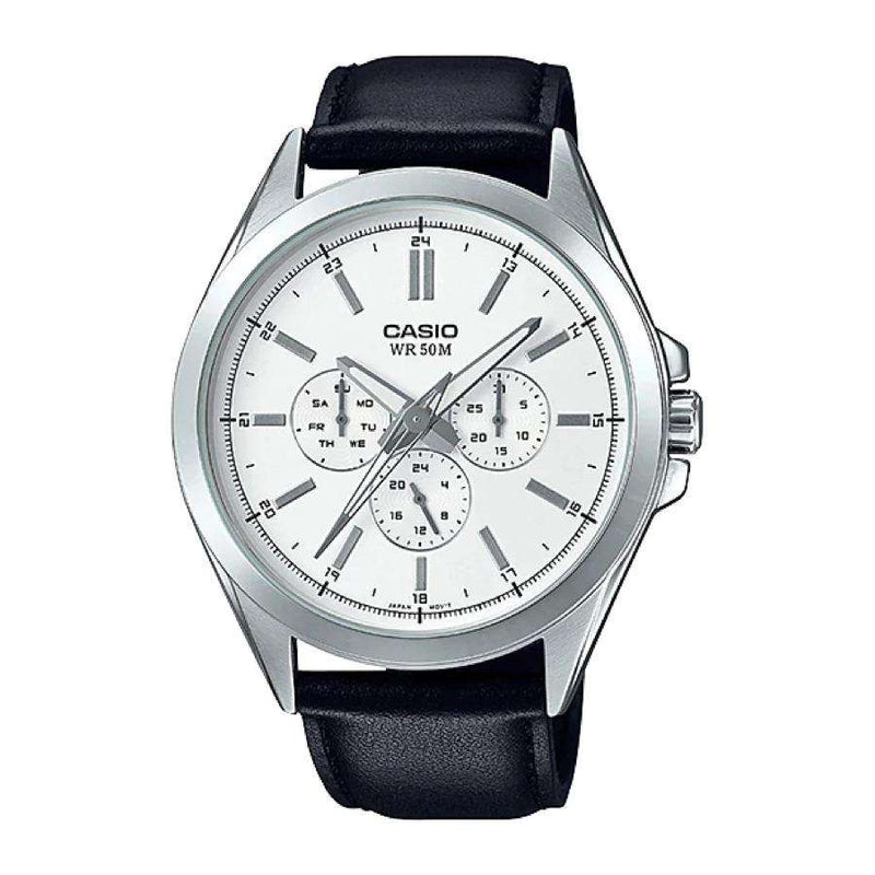 Casio MTP-SW300L-7AVDF Black Leather Strap Watch for Men