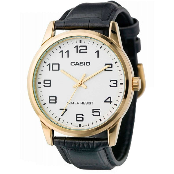 Casio MTP-V001GL-7B Black Leather Watch for Men