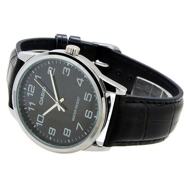 Casio Standard Men's Black Leather Strap Watch- MTP-V001L-1B - Watchportal Philippines