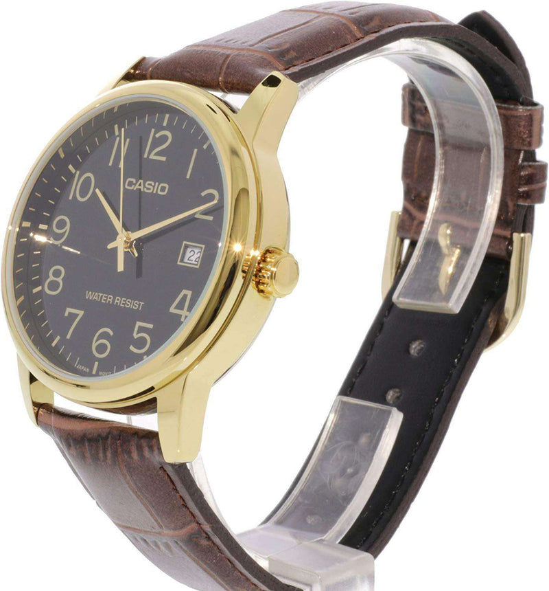Casio MTP-V002GL-1B Brown Leather Watch for Men