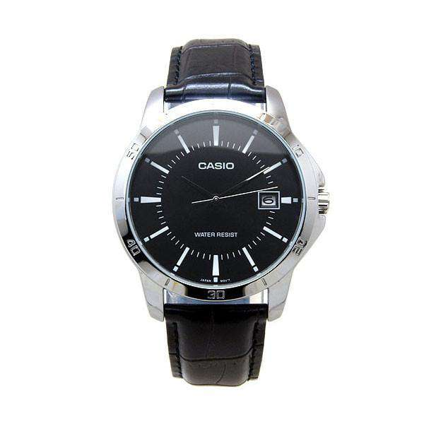 Casio MTP-V004L-1A Black Leather Watch for Men