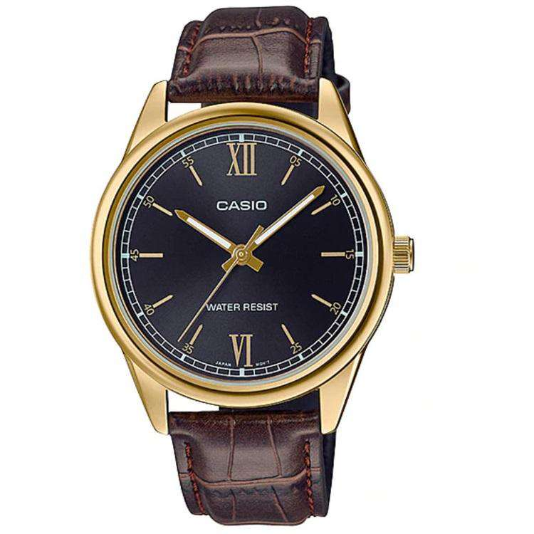 Casio MTP-V005GL-1B2UDF Brown Leather Watch for Men