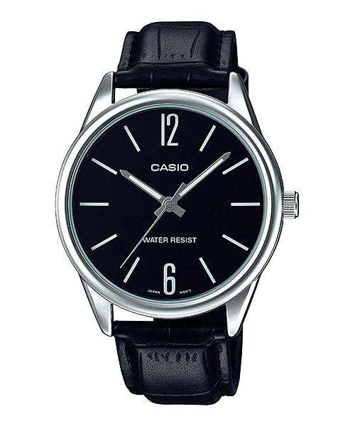 Casio MTP-V005L-1B Black Leather Watch for Men