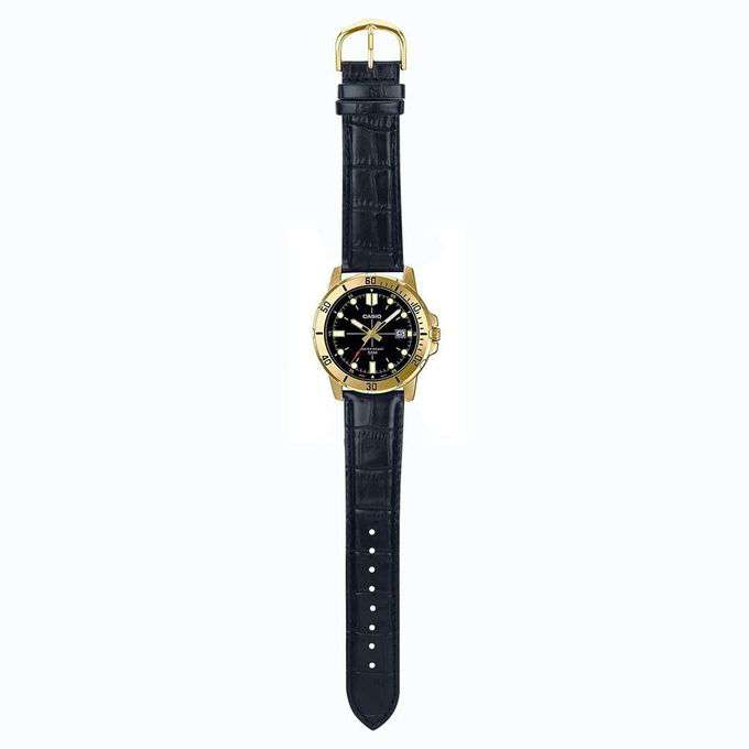 Casio MTP-VD01GL-1EVUDF Black Leather Strap Watch for Men