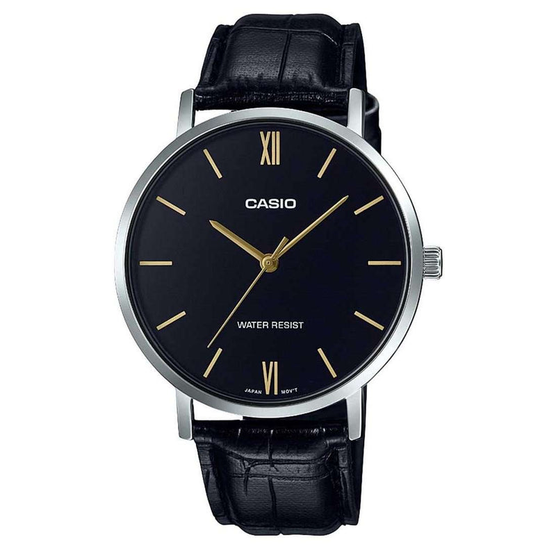Casio MTP-VT01L-1BUDF Black Leather Watch for Men