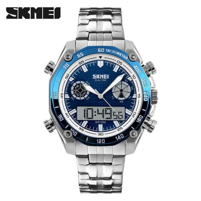 SKMEI 1204 Blue Stainless Steel Strap Watch for Men