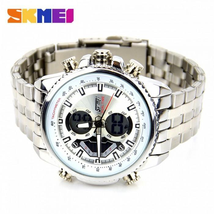 SKMEI AD0993 White with Stainless Steel Strap Watch for Men - Watchportal Philippines
