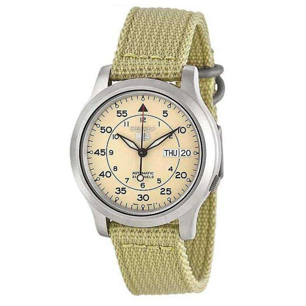 SEIKO SNK803K2 Automatic Beige Nylon Strap Watch for Men