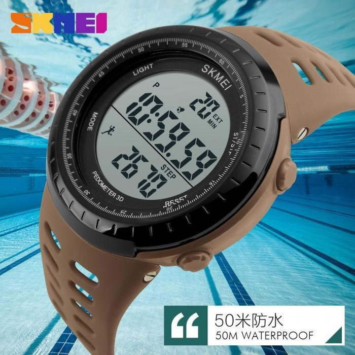 SKMEI DG1177 SPedometer Brown Rubber Strap Watch for Men and Women - Watchportal Philippines