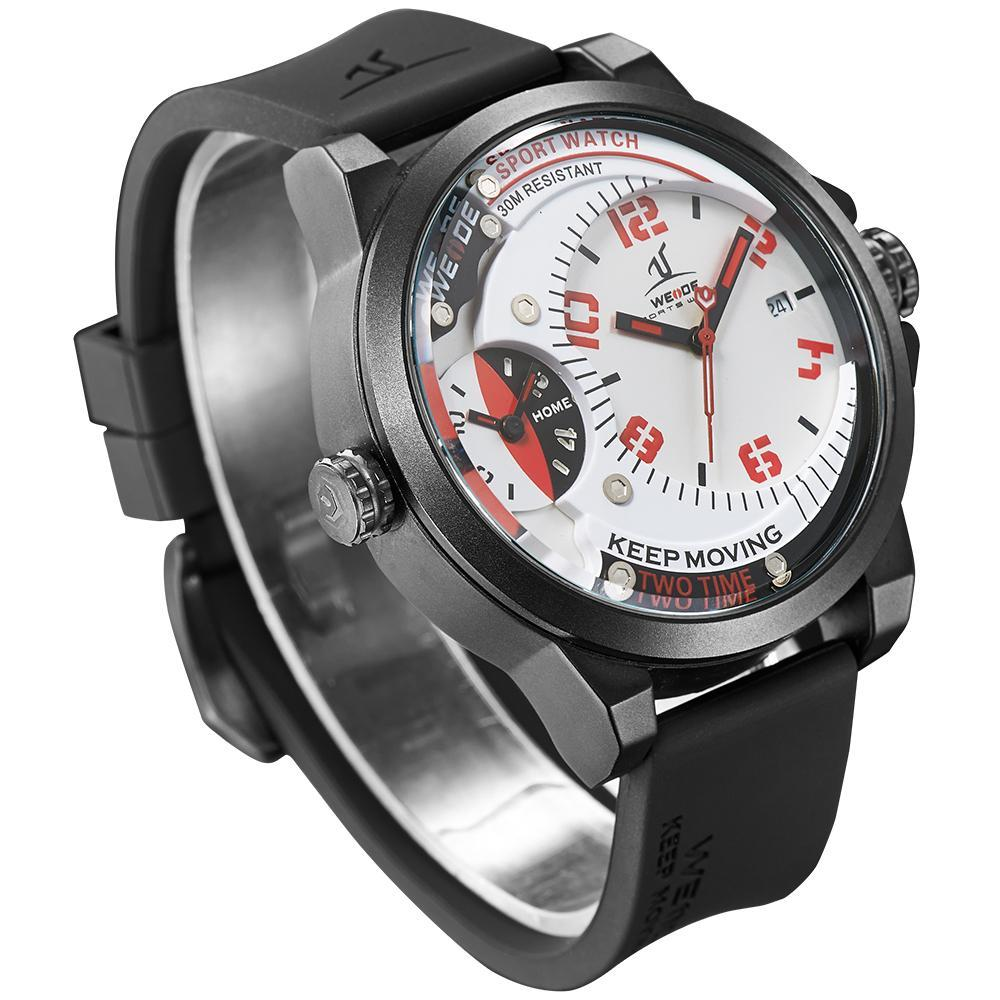 Weide UV1501-2C-WHT RED INDEX Black Silicon Strap Watch For Men - - Watchportal Philippines