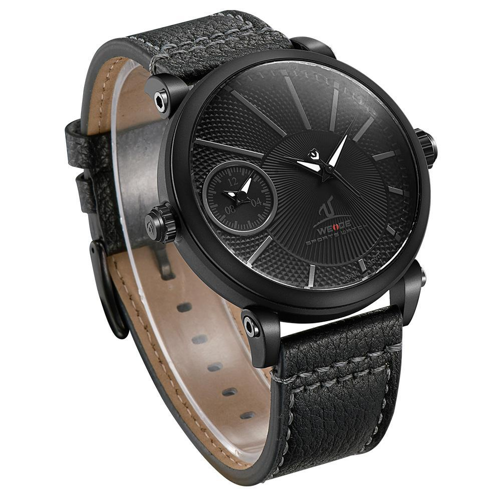 Weide UV1508B-2C-BLACK DIAL Black Genuine Leather Strap Watch for Men- - Watchportal Philippines