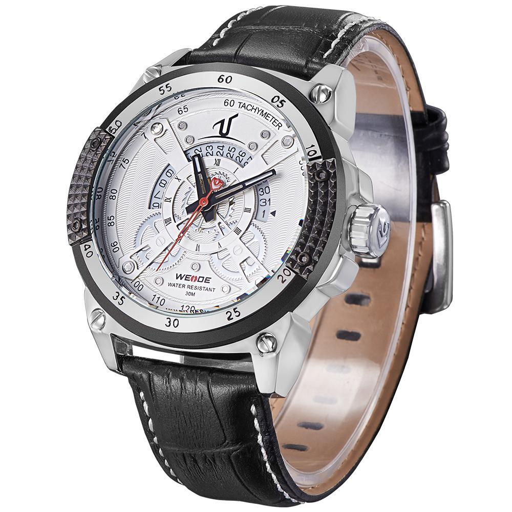 Weide UV1605-2C-WHITE DIAL Black Genuine Leather Strap Watch for Men - Watchportal Philippines