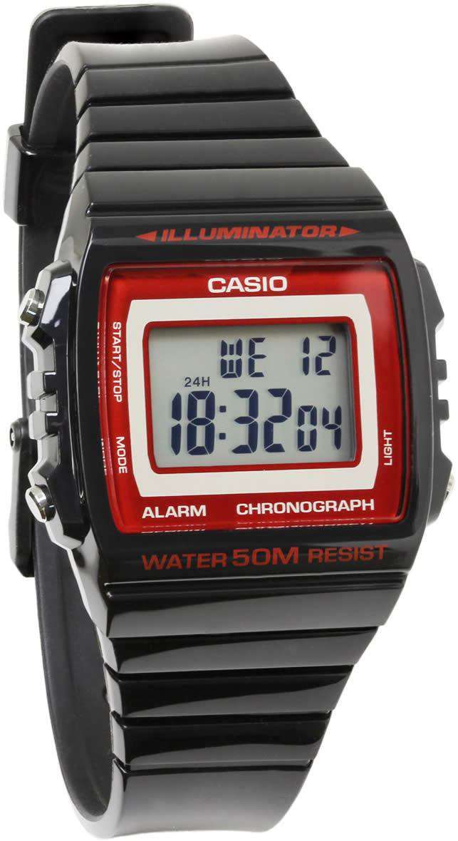 Casio W-215H-1A2 Black Resin Strap Watch for Men and Women
