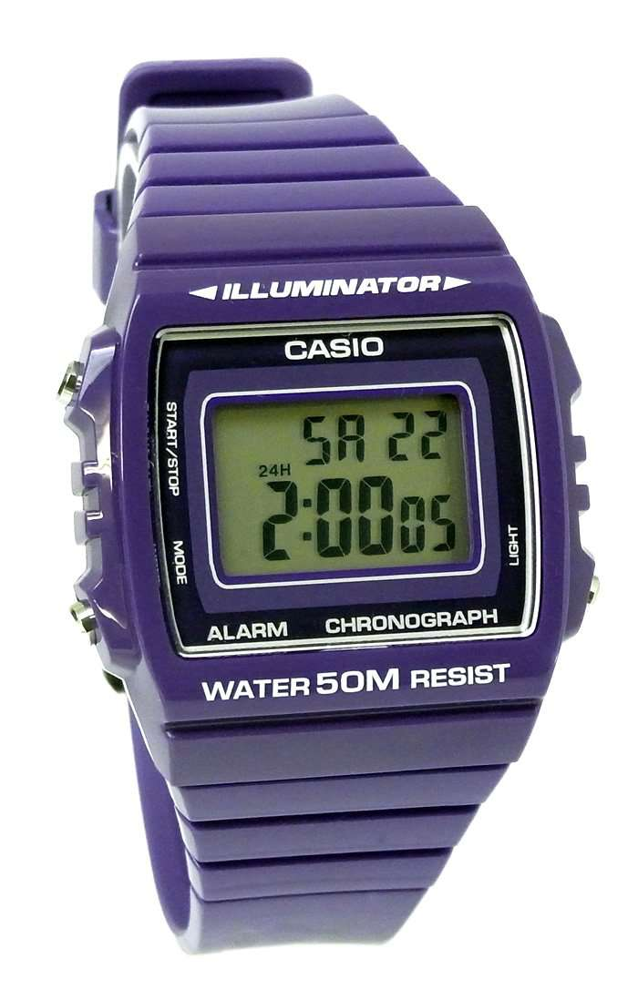 Casio W-215H-6A Purple Resin Strap Watch For Men and Women
