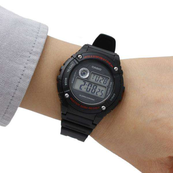 Casio Standard W-216H-1A Black Resin Strap Watch for Men and Women
