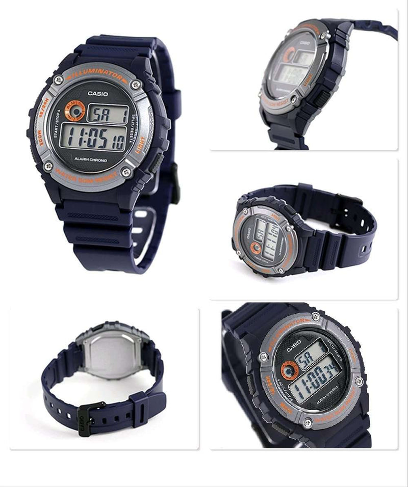 Casio W-216H-2B Blue Resin Digital Watch for Men