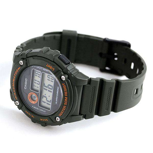 Casio W-216H-3B Green Resin Digital Watch for Men