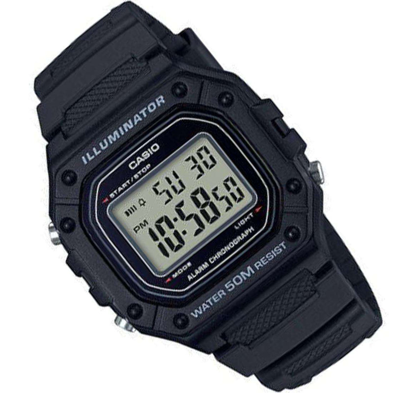 Casio W-218H-1AVDF Black Resin Watch for Men