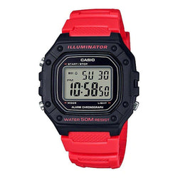 Casio W-218H-4BVDF Red Resin Watch for Men