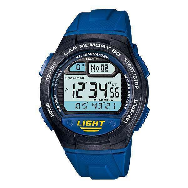 Casio W-734-2AV Blue Rubber Strap Sports Watch for Men