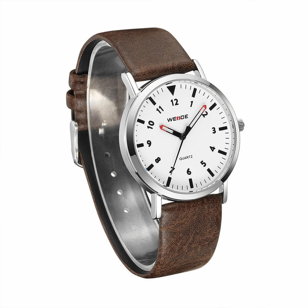 Weide WD003-1C-WHITE DIAL Brown Leather Strap Watch for Men- - Watchportal Philippines