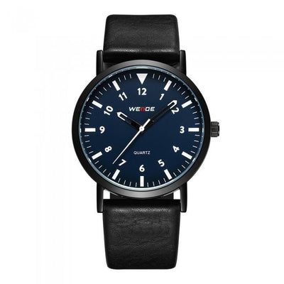 Weide WD003B-3C-BLUE DIAL Black Leather Strap Watch for Men- - Watchportal Philippines