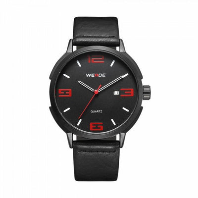 Weide WD004B-1C-RED INDEX Black Leather Strap Watch for Men- - Watchportal Philippines