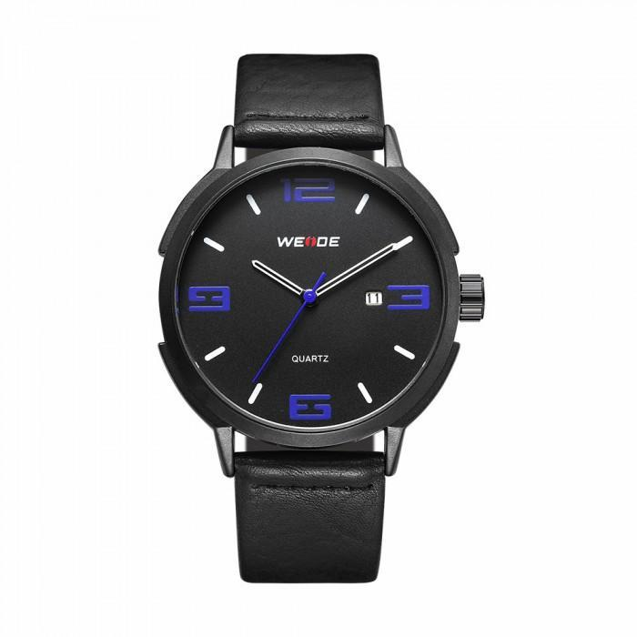 Weide WD004B-3C-BLUE INDEX Black Leather Strap Watch for Men- - Watchportal Philippines