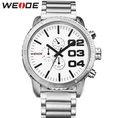 Weide WH3310-2C-WHITE DIAL Silver Stainless Steel Watch for Men- - Watchportal Philippines